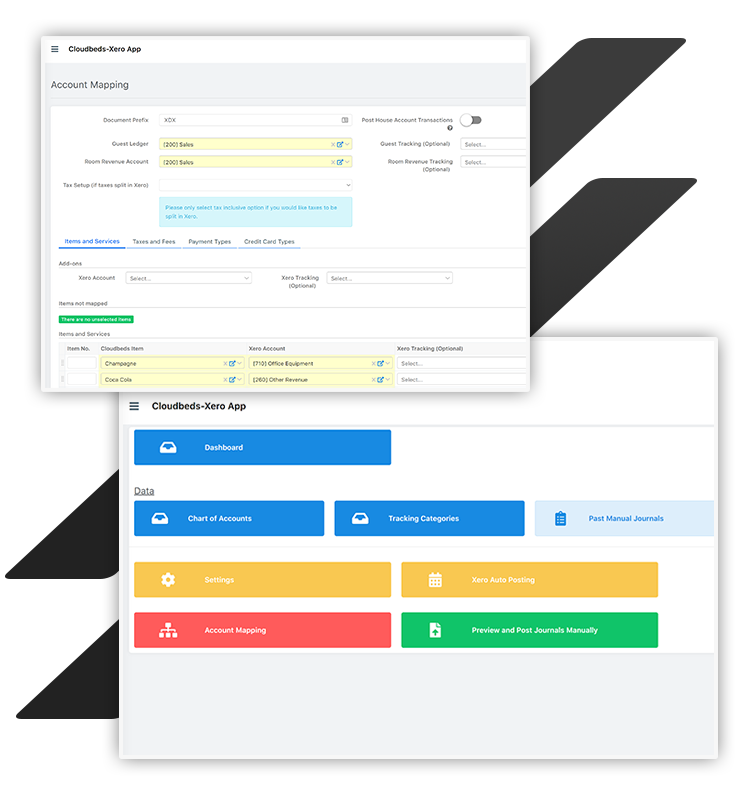 Xero accounting interface for Cloudbeds customers